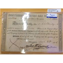 USA; Northern Liberties Gas Company Stock certificate no 1334 from 1856, 3 shares.