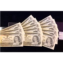 Bank of Canada; $1.00 note 1973, 13 notes with the front upper left Numeral 1 visible on the back al