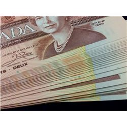 Bank of Canada; $2.00 note 1986 bundle of 100 consecutives notes CBA 0474600 to 699 all UNC.