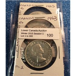 Canada silver 50 cents lot: 1962-1963-1964