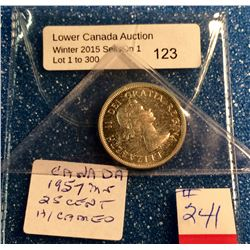 Canada silver 25 cents 1957 heavy Cameo mint state