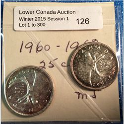 Canada silver 25 cents 1960-1962  mint state