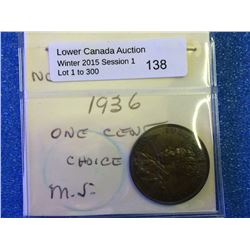 Newfoundland 1936 one cent Brown MS-60 brown