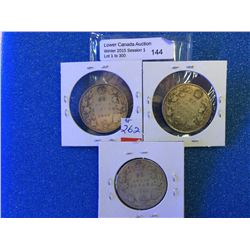 Canada Silver 50 cents 1916-1917-1919, lot of 3 coins