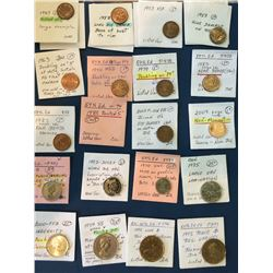 Canadian Decimal Variety Lot; 20 coins with different varieties all described on the envelopes, some