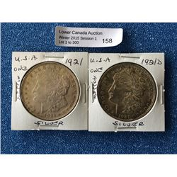 USA Silver morgan dollar 1921 and 1921d with die crack