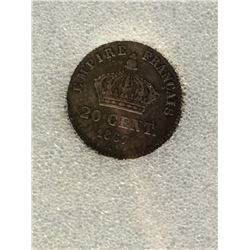 France 20 Centimes 1867-A; NNC certified VF-35. KM # 808.1