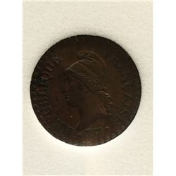 France 1 Centime 1849-A; NNC certified XF-45. KM # 754.