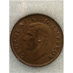New Zealand 1 Penny 1943; NNC certified MS-64 Brown.