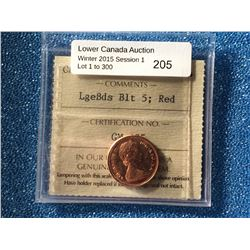 Canada one cent 1965 ,Large Beads Blunt 5 Red MS-64 ICCS