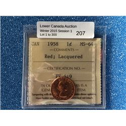 Canada one cent 1958 red Lacquered MS-64 ICCS