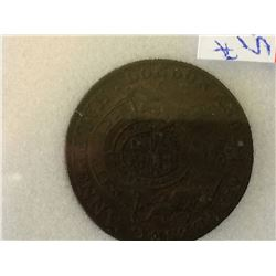 Great Britain Middlesex 1/2 Penny (1790's); NNC certified AU-55 Condor Token.