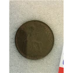 Great Britain 1 Farthing 1932; NNC certified MS-65 Brown.