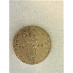 Great Britain 3 Pence 1909; NNC certified MS-62.