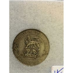 Great Britain 6 Pence 1924; NNC certified AU-58.