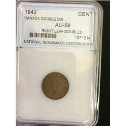 1 cent 1942; NNC certified AU-58 Double Die Reverse, Doubled Right Leaf. Not noted Die Rotation.