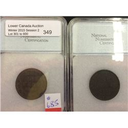 1 cent 1882H; NNC certified XF-40 and 1886; NNC certified VF-30. Lot of 2 coins.