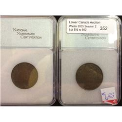 1 cent 1911; NNC certified AU-50. Lot of 2 coins.