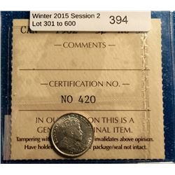 5 cents 1902; ICCS certified AU-58.