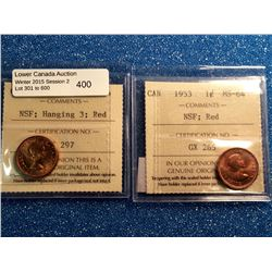 1 cent 1953; ICCS certified MS-64 Red, Hanging 3,No Shoulder Fold and ICCS certified MS-64 Red, No S