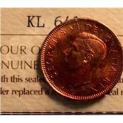 1 cent 1949; ICCS certified MS-63 Red, A Off Denticle.