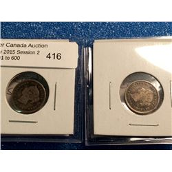 5 cents 1881H and 1891 both coins in VG-8. Lot of 2 coins.