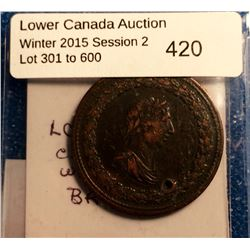 Half penny token 1812, lower Canada TIFFIN-LC46A1, Four top leaves/no cannonballs, holed