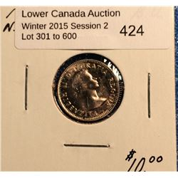 10 cents 1953 No Shoulder Fold in Bright Uncirculated. Light Doubling on date.