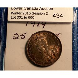 Newfoundland 25 cents 1919C in Extra-Fine 40.