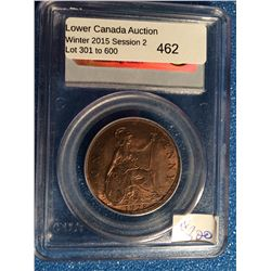 Great Britain 1 Penny 1928; PCGS certified MS-63 Red & Brown.