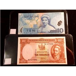 New Zealand 10 Shillings note (ND) UNC Signature Fleming with security treads and 10 dollars note (N