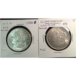 USA silver Morgan lot of two coin 1903 p  and 1921  mint state