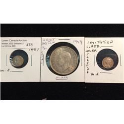 Great Britain1944 half crown and Imitation coin lot of three.