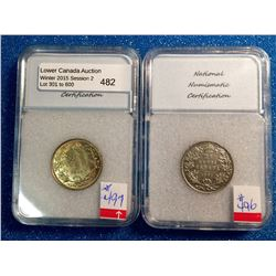25 cents 1911; NNC certified VF-35 and 1936; NNC certified MS-62. Lot of 2 coins.