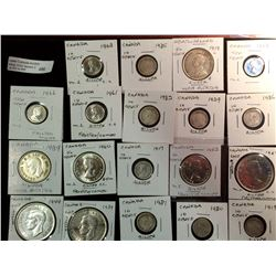 Canada and NFLD Silver 10 cents-50 cents and one dollar lot from 1917 to 1966