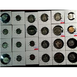 Canada nickel and silver lot of 5-10-50 Cents and dollars from 1893 to 1975 some with doubling and e