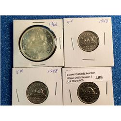 5 cents 1948 x 3 F-12, VF-20 and VF-30 plus silver dollar 1966 Large Beads UNC. Lot of 4 coins.