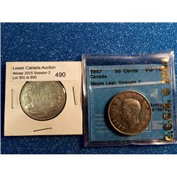 50 cents 1934; VG-10 and 1947; CCCS certified VG-10 Maple Leaf Straight 7. Lot of 2 coins.