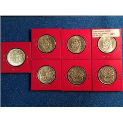 50 cents 1954 x 4 VF/EF and 1961 x 3 AU. Lot of 7 coins.