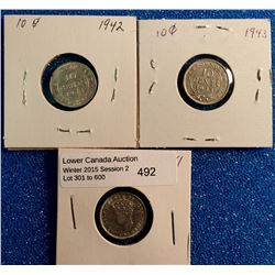 Newfoundland 10 cents 1941C EF-40, 1942C EF-40 and 1943C VF-30. Lot of 3 coins.