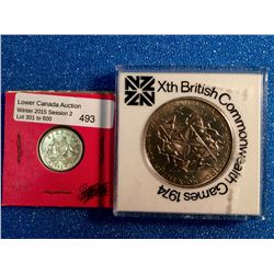 Australia 6 Pence 1942-D AU and New Zealand 1 dollar 1974 British Commonwealth Games. Lot of 2 coins