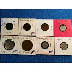 Great Britain 1 Farthing 1825, 1884, 1946, 1/2 Penny 1944, 1 Penny 1929, 3 Pence 1874 & 1920, 6 Penc