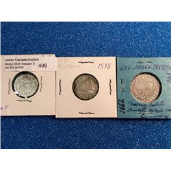 Poland 1/2 Grossus 1549, 3 Grossus 1598 and 6 Grossus 1662. Lot of 3 coins.