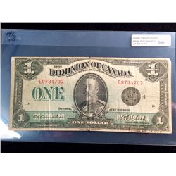 Dominion of Canada; $1.00 note 1923 DC-25o E9734707 VG with a few tears, with writing in lower right