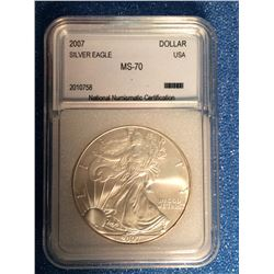 USA; 1 dollar 2007 Silver Eagle; NNC certified MS-70.