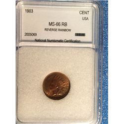 USA; 1 cent 1903; NNC certified MS-66 RB Reverse Rainbow.