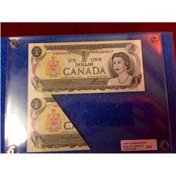 Bank of Canada; 1 dollar replacement note 1973 BC-46aA Folding Error with about 25% of the note unde