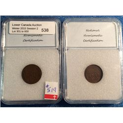 USA; 1 cent 1929-D; NNC certified AU-55 and AU-58. Lot of 2 coins.