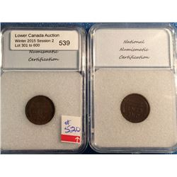 USA; 1 cent 1921-S; NNC certified XF-45 and 1928-S; NNC certified AU-50. Lot of 2 coins.