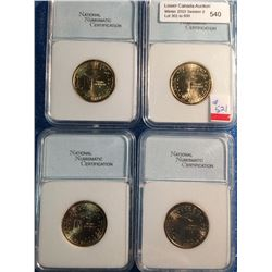 USA; 1 dollar 2003-D MS-68, 3 x 2003-P MS-68; NNC certified. Lot of 4 coins.